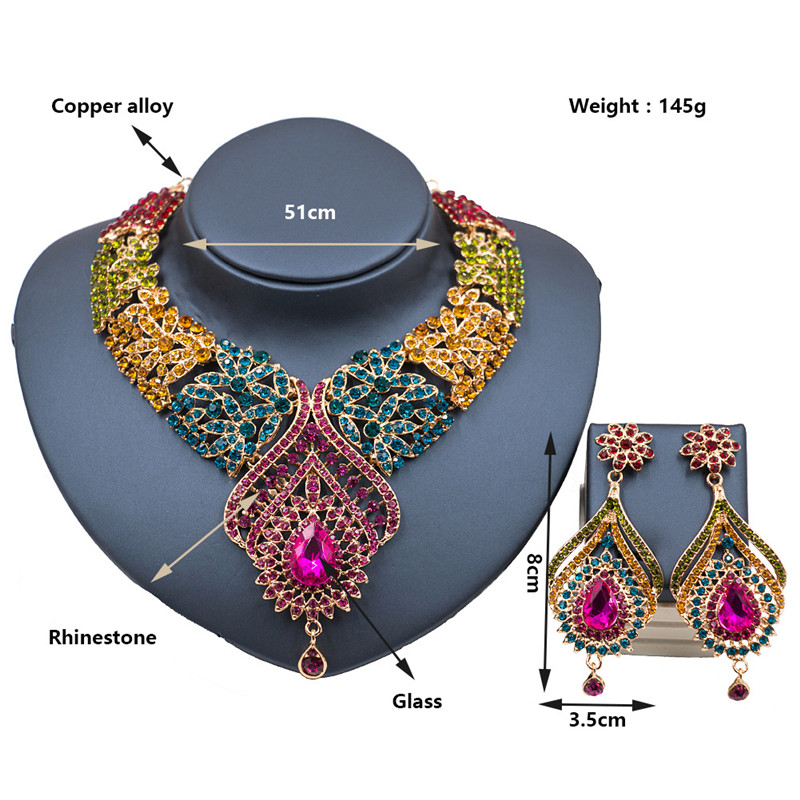 2017 New Bridal Jewelry Sets Austria Crystal Necklace Earrings Sets for Women Wedding Party African Beads Jewelry sets LF -G018