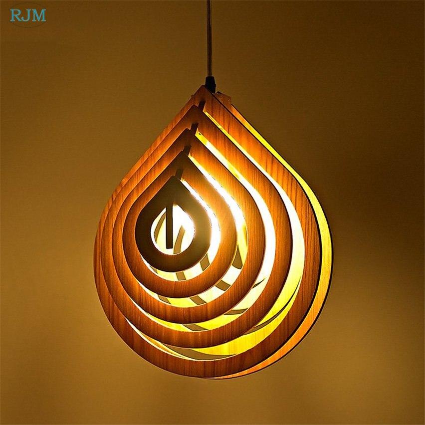 Stile europeo Moderno Water Drop lampada a Sospensione In Legno Creativo LED Lampada a Sospensione per Bar Cafe Camera Da Letto Soggiorno Illuminazione Decorazione - 2