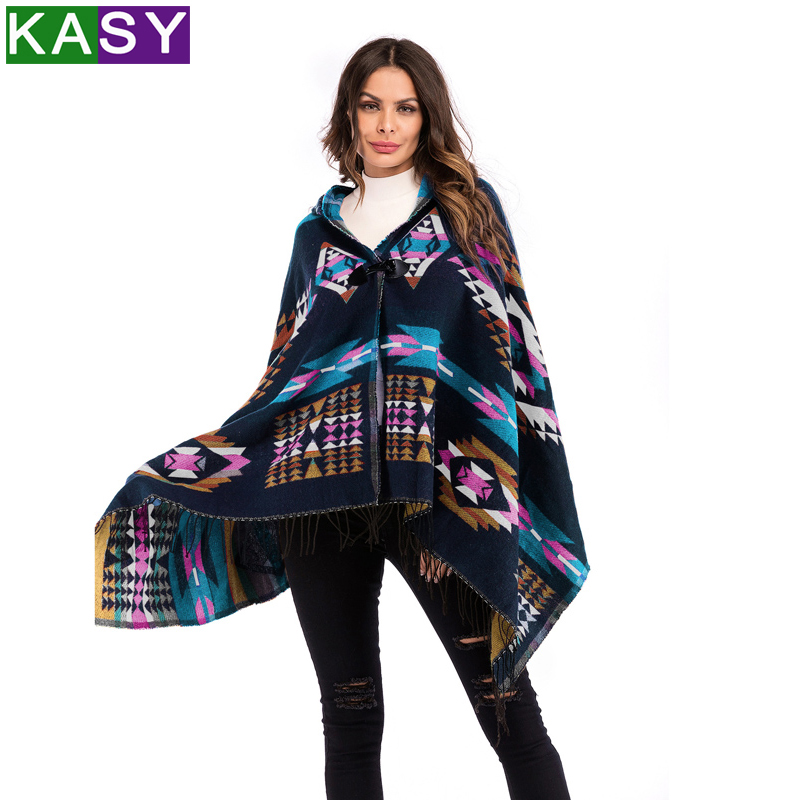 Women Spring Large Size Hooded Ethnic Bohemian Cloak Geometric Print Tassel Fringed Coat Female Poncho Cape Outerwear Coat Shawl