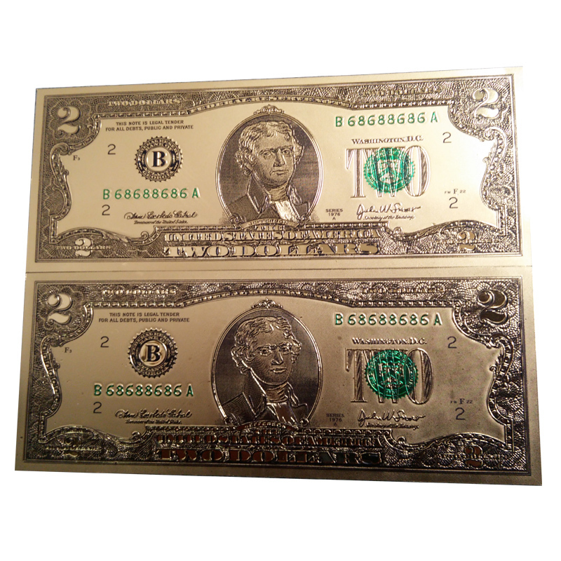 24k Gold Foil Banknotes 2 Dollars Bill Paper Money Collection Usa Currency Craft Souvenir For Decoration Accessories