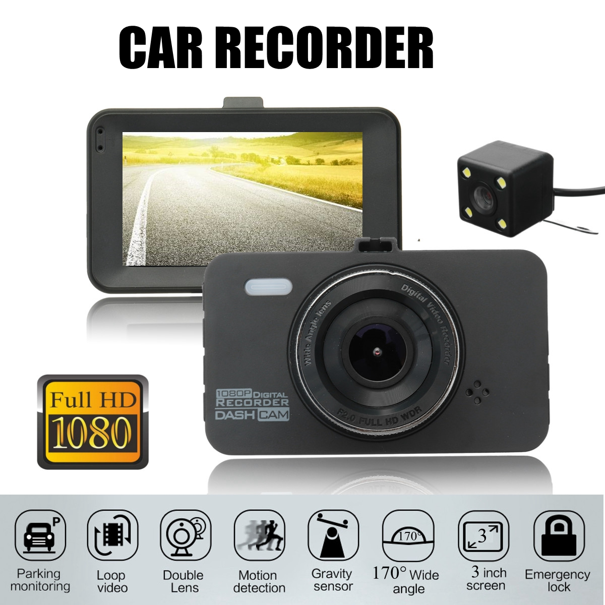 3 inch Dual Lens Camera 1080P 170 Degree Car DVR Video Dash Cam Front Rear Recorder NightVision