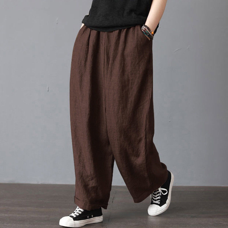 Summer Women Men Unisex   Pants   Casual Cotton Linen Loose Retro Drawstring Harem Long Trousers   Wide     Leg     Pants