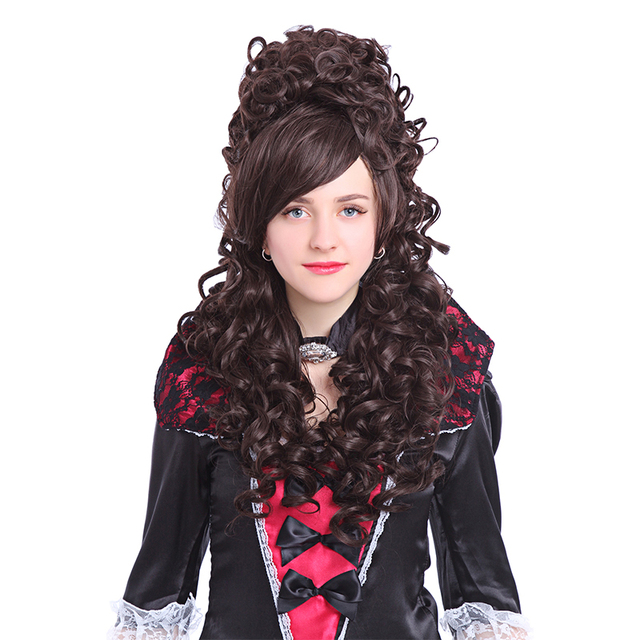 80cm Princess Hair Long Curly Beige White Black Light Purple Marie Antoinette Anime Cosplay Wigs