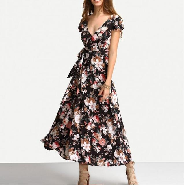 4248a40e77cf New Arrival Summer Fashion Short Sleeved V-neck Floral Print Maxi Dress  Crossover Strap Back Sexy Beach Long Dresses