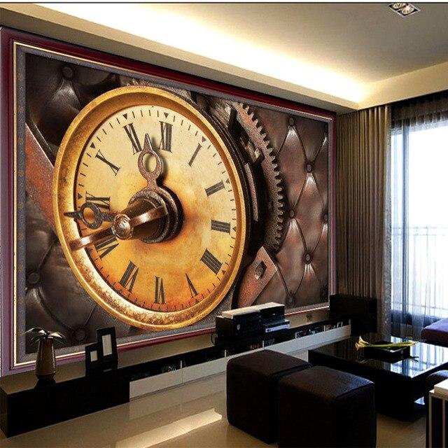 Personalizado 3D foto papel de parede Personalizado Relógio Retro mural bar KTV sala de estar quarto casa de chá café sofá papel de parede mural
