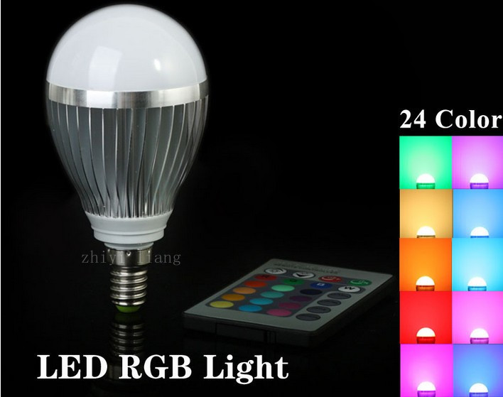 RGB E14 10W LED Bulb Lamp with Remote Control AC85-265V 24Color High Brightness jr led e27 10w 500lm led rgb light bulb w remote control white silver ac 85 265v