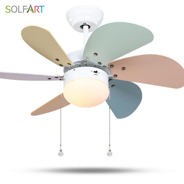 SOLFART Roof Fan Modern Ceiling Fan Kids Room Led Ceiling Fan With Light  Mute Security Natural