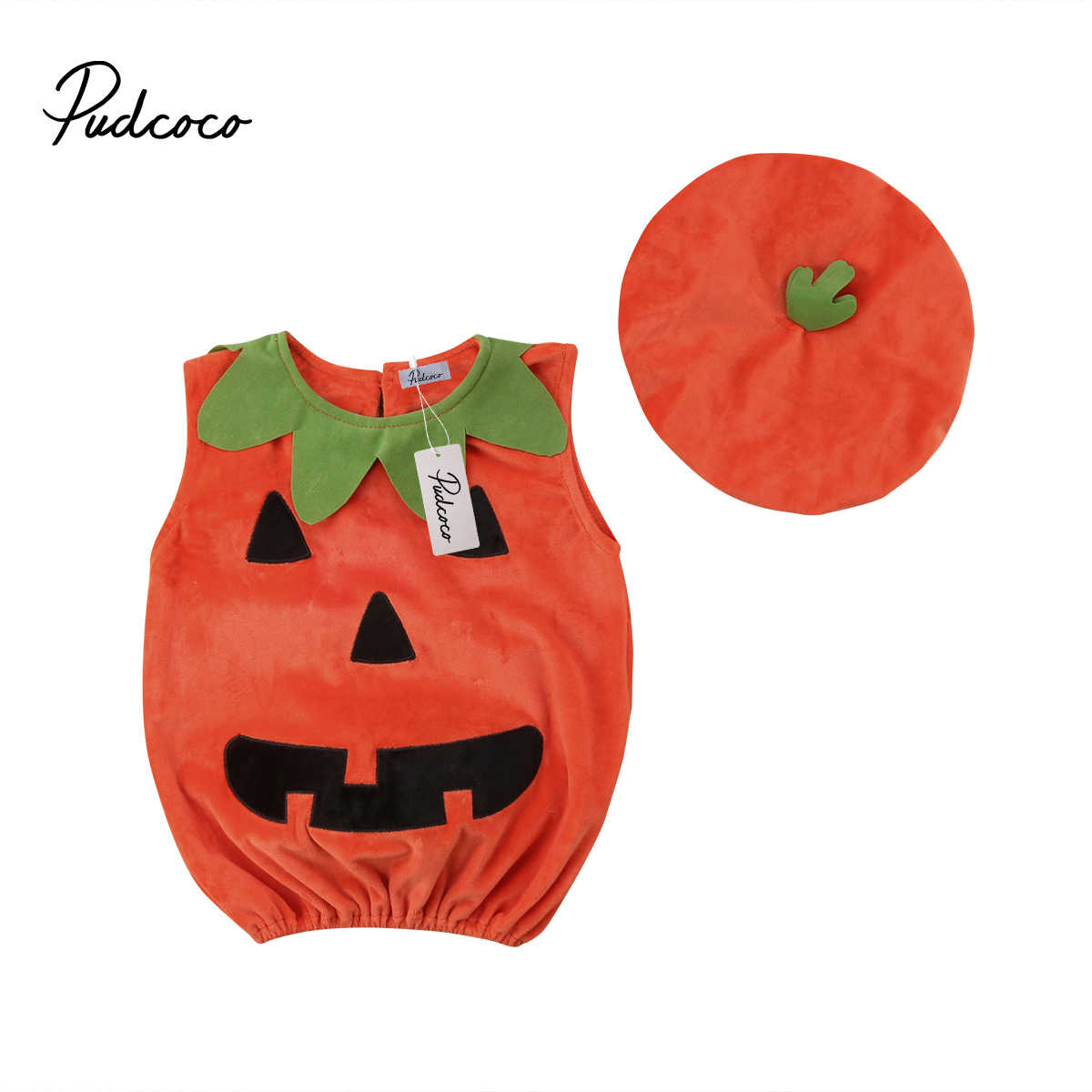 2018 Brand New 0-3Y Cosplay Halloween Toddler Baby Kid Pumpkin Sleeveless Romper Jumpsuits Tops+Hats Baby Clothes 2PCS Costumes