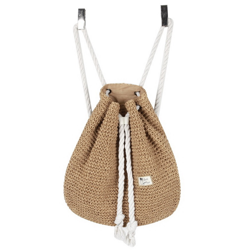 Straw Backpack Crocheted String Drawstring Beach Bag Woven Korean Bag ...