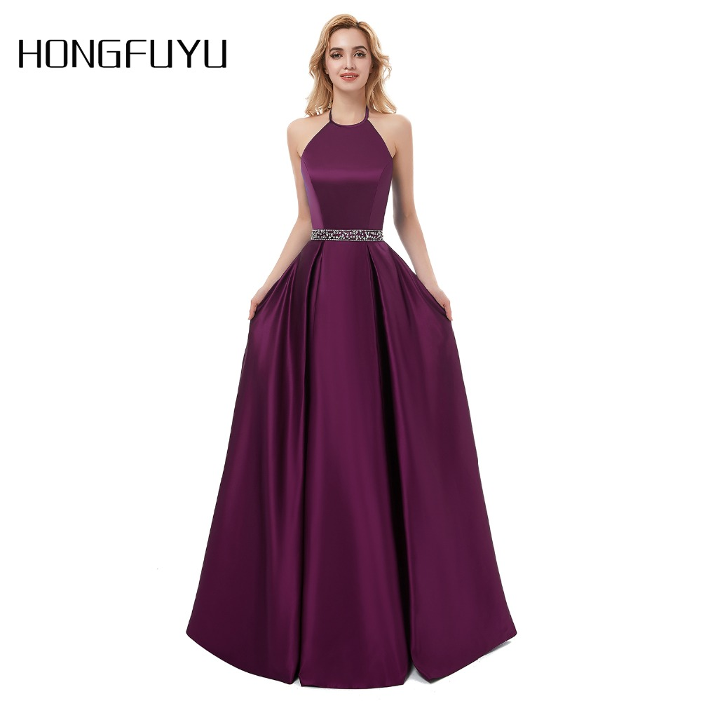 Sexy   Prom     Dresses   2019 Halter Backless Beads Crystal Party Gowns Sleeveless Cheap Party   Dress   vestido de festa longo Real Photos