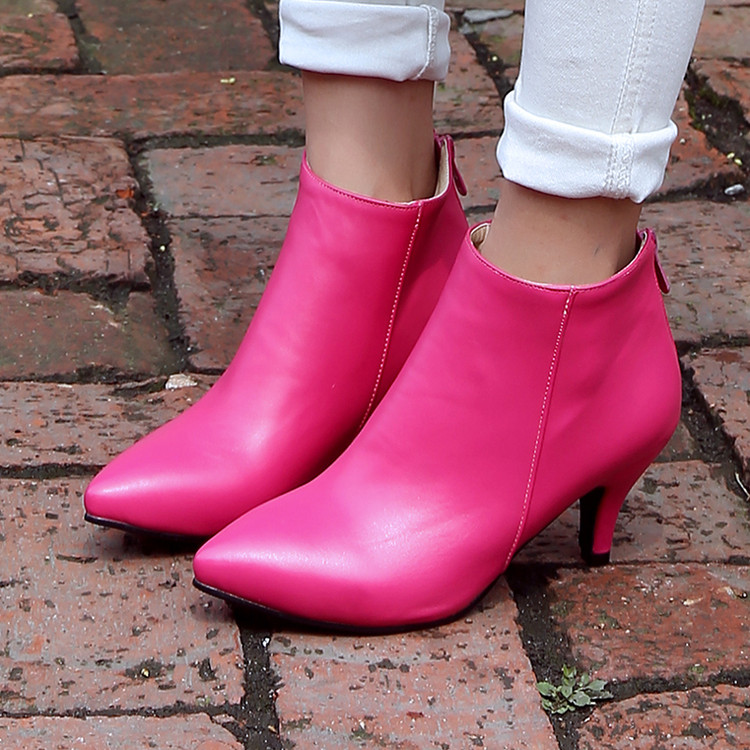 Spring Autumn Pink Black Beige Large Size Shoes Women High -4828