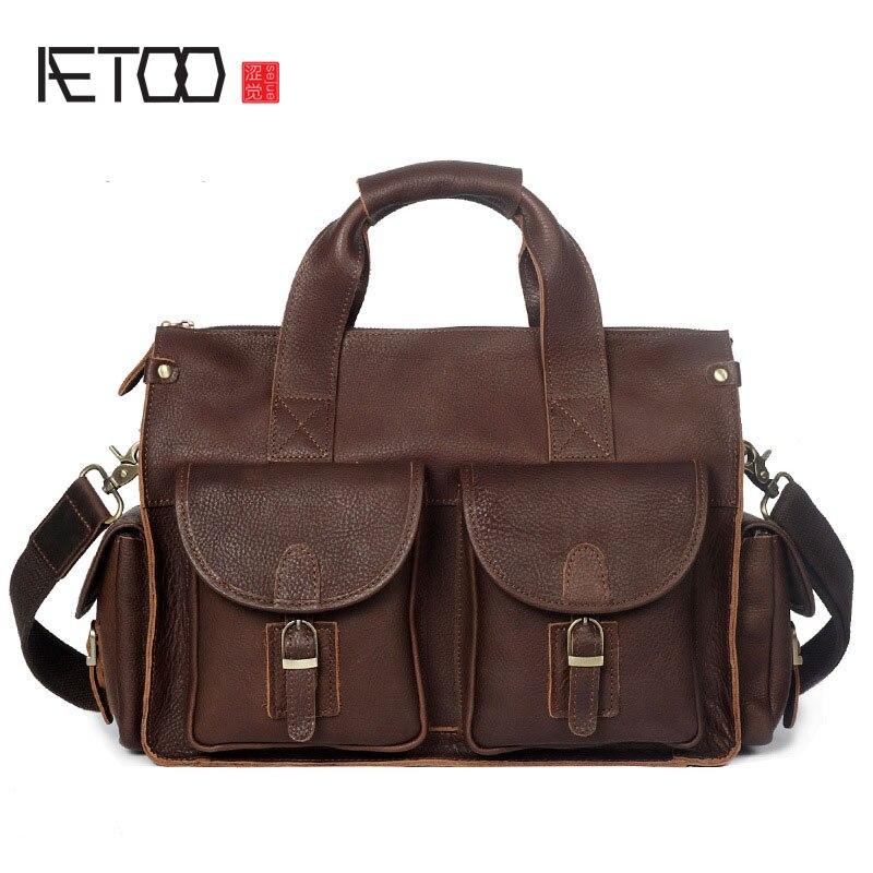 AETOO Mens Handbag Crazy Horse Leather Handmade Retro Briefcase Shoulder Messenger Bag Genuine Leather Mens Bag Computer Bag