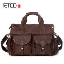лучшая цена AETOO Men's Handbag Crazy Horse Leather Handmade Retro Briefcase Shoulder Messenger Bag Genuine Leather Men's Bag Computer Bag