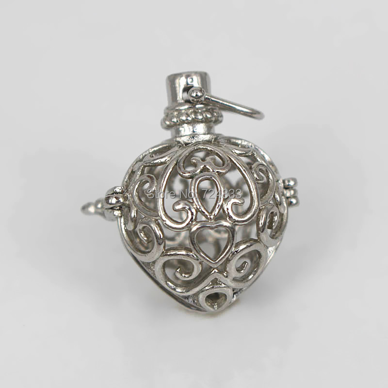 Rhodium tone Filigree Hollow Heart Ball Box Cage Locket Pendants For DIY Essential Oil Diffuser Perfume Sound Chime Necklace