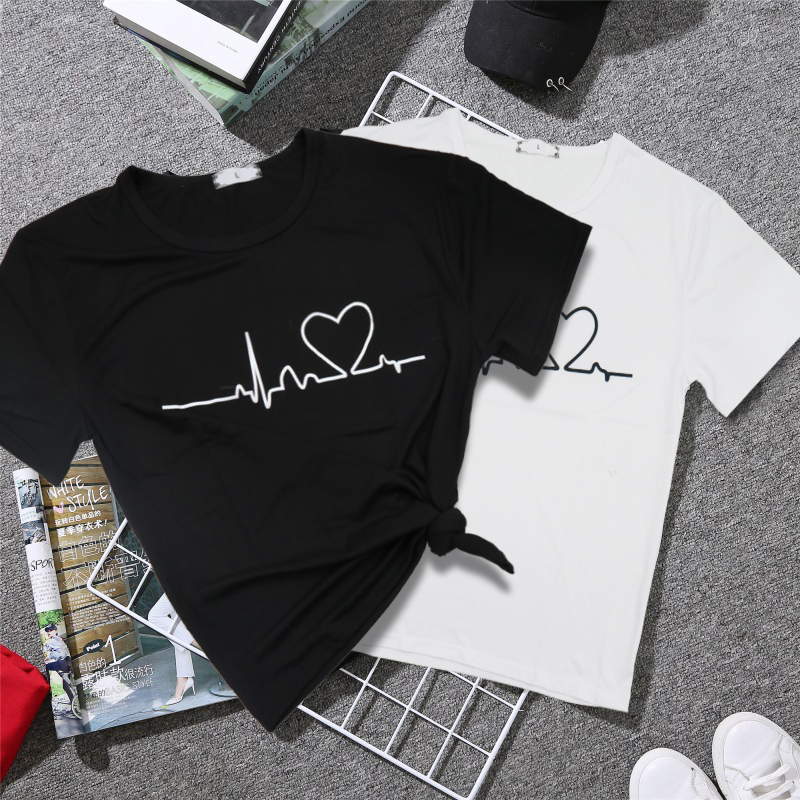 Women T-Shirts Tee-Tops Short-Sleeve Harajuku Love-Printed Casual Summer for Clothing
