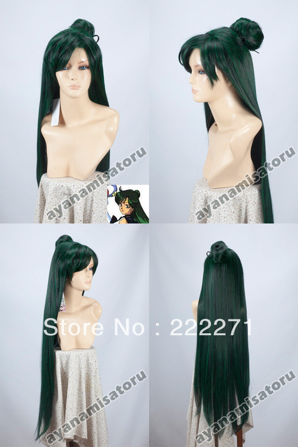 Free Track Anime Sailor Moon Meiou Setsuna Long Straight Mixed Black Green Full Lace Cosplay Wig Costume Heat Resistant + Cap anime sailor moon mizuno ami short cosplay wig costume heat resistant cap track number