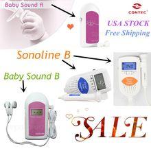 5 pic Factory US Seller!!Contec Handheld FDA Pocket Fetal Doppler,Baby Heart Monitor,free Gel