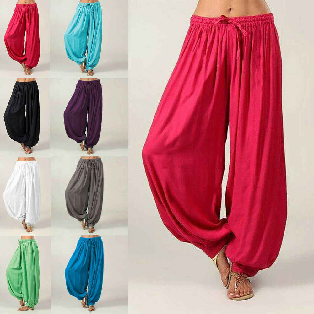 Women Dance Pants Elastic High Waist Baggy Cotton Harem Trousers Plus Size S-3XL