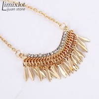 New Arrival Hotsale European Jewelry Texture Crystal Tassels Fashion Necklace Short Sweater Chain Accessories