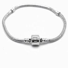 Модный женский посеребренный браслет и браслет змеиная цепь с застежкой-бочкой подходит для браслета Pandora или шармов из бисера Chamilia