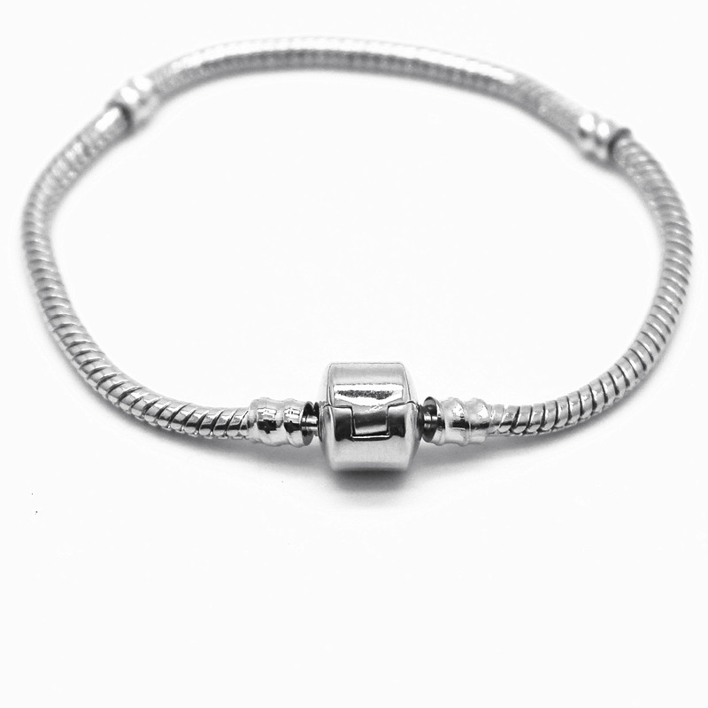 Fashion Women Silver Plated Bracelet & Bangle Snake Chain with Barrel Clasp Fit Pandora Bracelet Or Chamilia Bead Charms