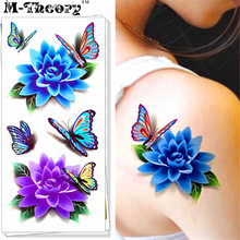 M-theory Blue Lotus 3D Temporary Fake Tattoos Body Arts Flash Tatoos Stickers 19x9cm Swimsuit Bikini Makeup Tools