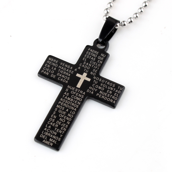 Free Shipping Holy Bible Cross Pendant Necklaces Bead Chain For Women Men 316L Stainless Steel Necklace Silver Gold Black
