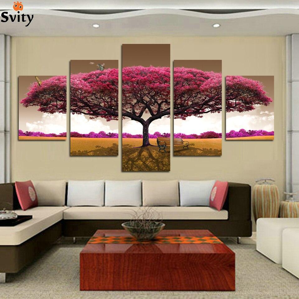 5 panelen (geen frame) paarse boom schilderij canvas kunst aan de - Huisdecoratie