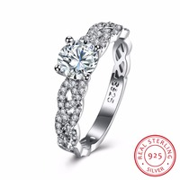 100 Fasion 925 Pure Silver Ring Woven Round Stone Ring Jewelry Wedding Ring