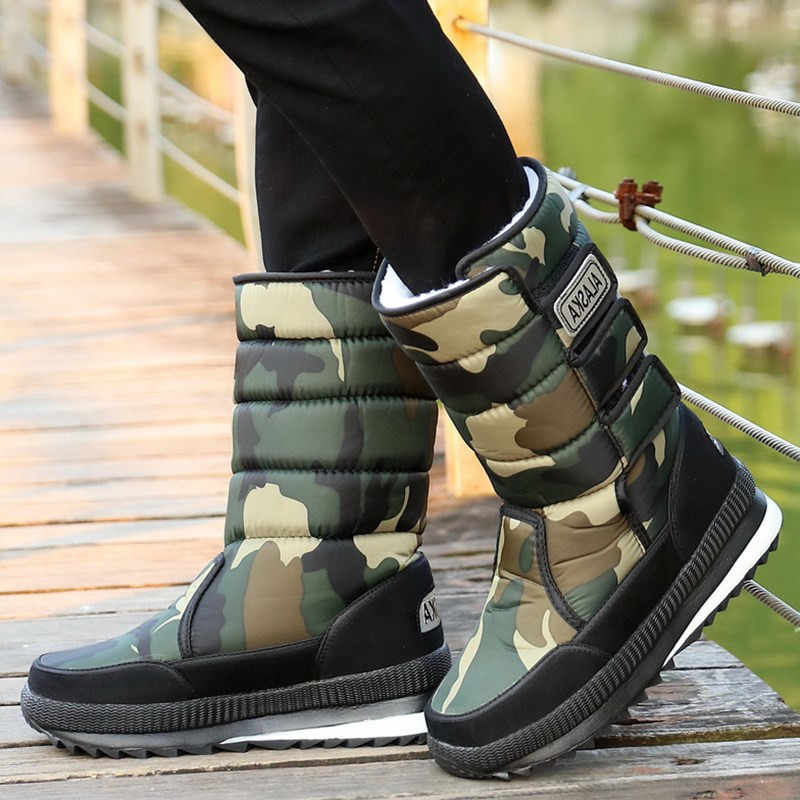 New Men's Non-slip Waterproof Ski Boots Men Winter Shoes Outdoor Thicken Plush Warm Long Tube Camouflage Large Size Men's Snow B