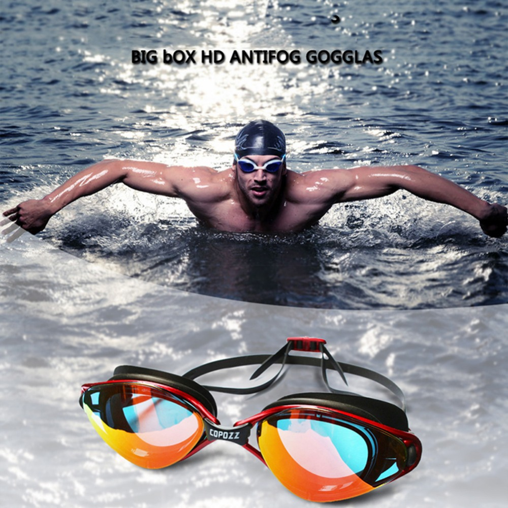 Copozz Professional Waterproof Anti-fog Small Flame Swimming Goggles Electroplating Version Silicone Glasses For Adult