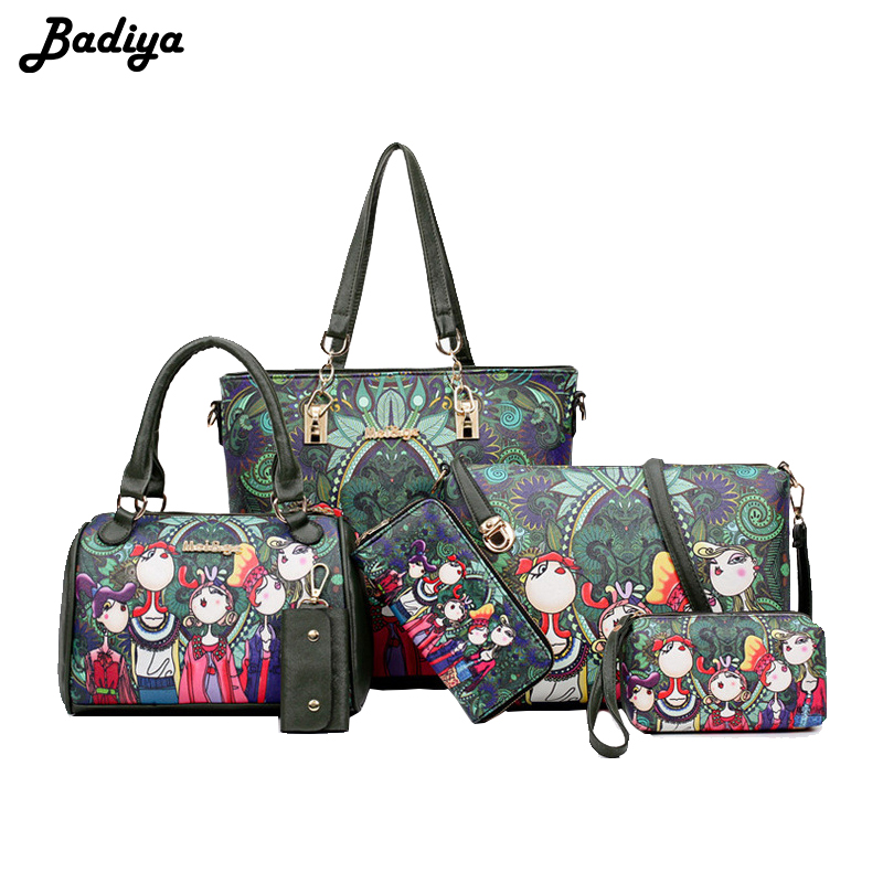 Luxury Kavard Forest Leather Composite Bag 6Pcs/Set Girl Female Character Patten Tote Shoulder Bags Large Capacity