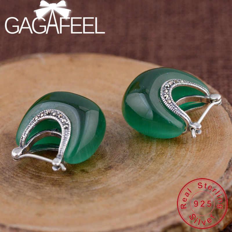 GAGAFEEL 100% เงินแท้ 925 เครื่องประดับดวงจันทร์โอปอลต่างหูผู้หญิงของขวัญแฟชั่นคลาสสิกเครื่องประดับ Dropship