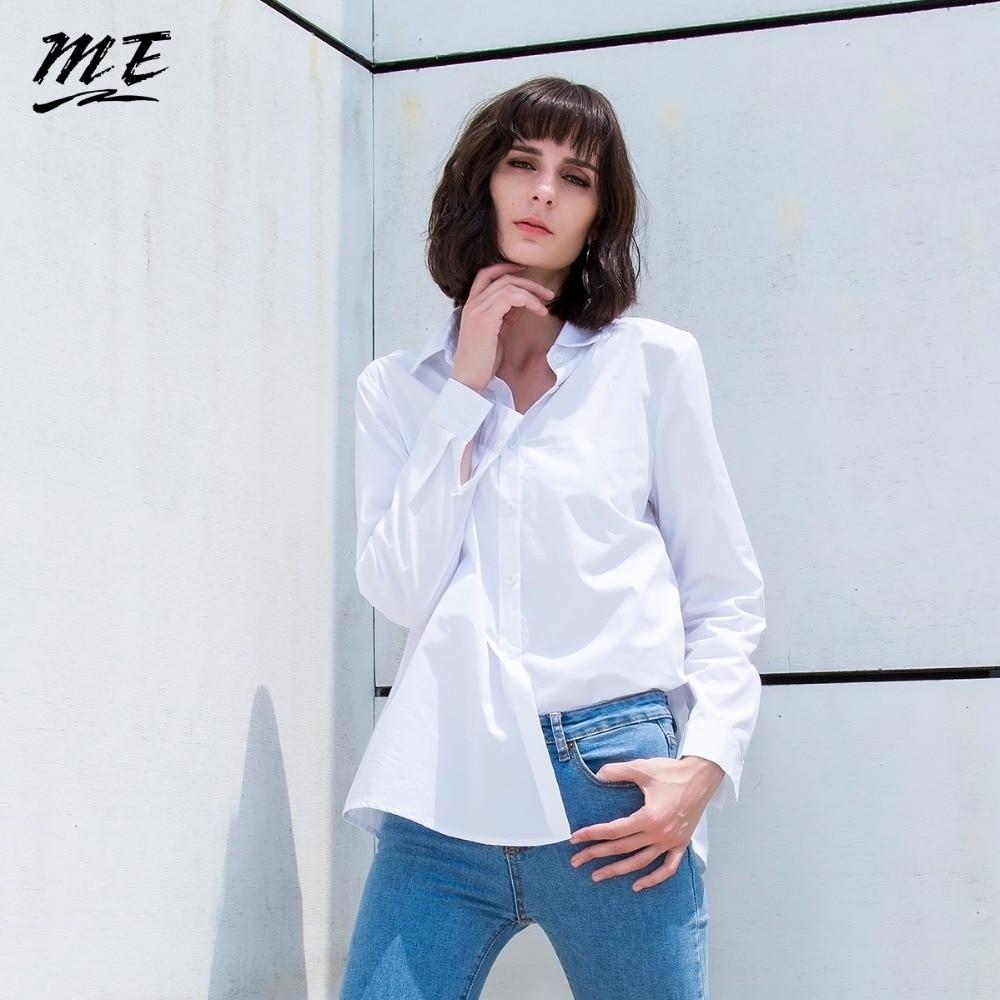 Me Women Tops White Fall Fashion Turn Down Neck Long