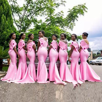 Pink Bridesmaid Dresses Long Mermaid Beads Off Shoulder maid of honor Plus Size Custom Made Wedding Party Guest Gowns