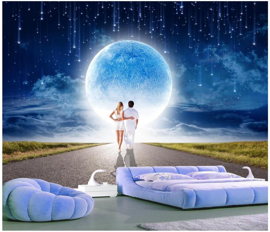 3d обои на заказ росписи метеорный поток под романтический Луна домохозяйство 3d настенные фрески обои для стен 3 d принтом ткань