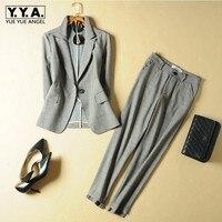 Модные женские офисные Клетчатый костюм Slim Fit весна новый 2 шт. Blazer брюки костюмы Винтаж Бизнес работы комплект одежды ансамбль женский