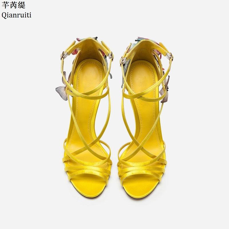 Femmes Appliques blue Croix Talons attaché Pompes D'été Sangle Stiletto Qianruiti Boucle Chaussures Haute yellow Black Sandales Cheville Papillon WwFzqaS1n
