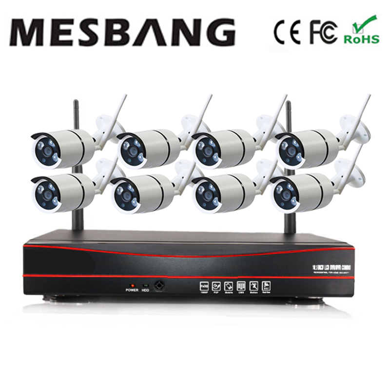 Mesbang 960P 1.3MP wifi  IP camera system wirelss nvr  kit 8ch easy to install delivery by DHL Fedex free shipping mesbang 960p 8ch wifi wirless outdoor security system kit delivery with 7 inch monitor very fast by dhl fedex