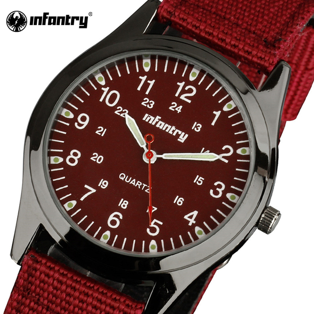 INFANTRY Quartz Watches Top Brand Luxury Men Women Watches Ultra Thin Red Nylon Strap Army Military Watches Relogio Feminino