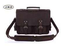 J.M.D Men's Fashion Excellent Genuine Leather Dark Brown Large Capacity Business Briefcases Laptop Handbag Shoulder Bag 7145R
