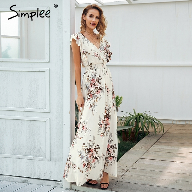 fcb73a594c Simplee Ruffle backless bow print long dress Women v neck tie up ...