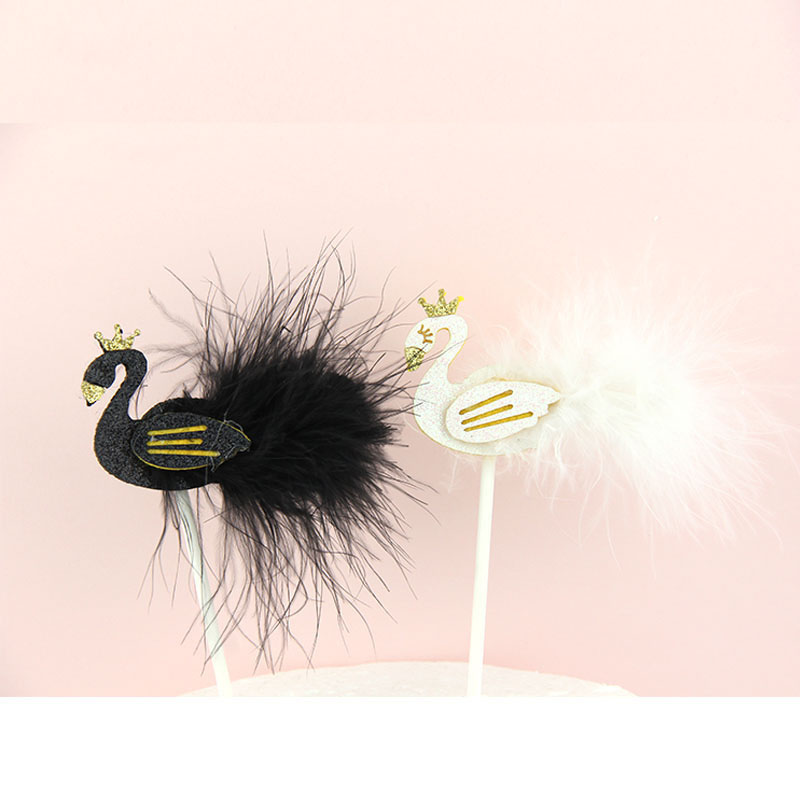 Cake Flags Cupcake Cake Topper black white swan feather Toppers Bride Kids Birthday Wedding Bridal Cake Wrapper Party Baking DIY
