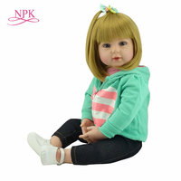 NPK Doll Reborn 47/60cm Soft Touch Silicone Reborn Baby Dolls Vinyl Toys Big Dolls For Girls Baby Dolls With Blond hair