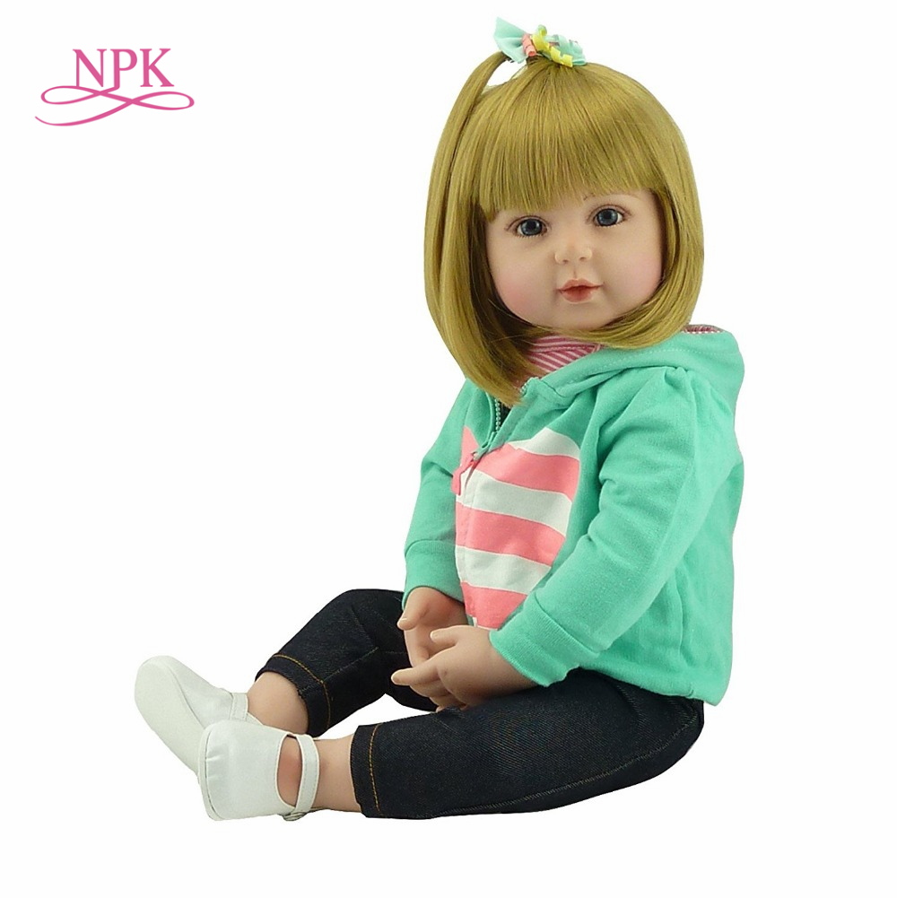 Poupée NPK Reborn 47/60 cm Silicone doux au toucher Reborn bébé poupées vinyle jouets grandes poupées pour filles bébé poupées avec cheveux blonds
