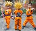 Dragon Ball Z DBZ Goku Roupas Traje Cosplay e Peruca Cosplay para Crianças Top/Calça/Peruca/Peruca cinto/Cauda/Pulso/Dourado Porrete