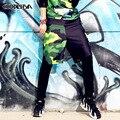 2016 Falsos duas Calças Adulto Mulheres homens olho desgaste ds traje Preto Verde Camuflagem patchwork harém calças de dança Hip hop