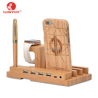 Bamboo Charging Station Stand Dock Bucket Wood Phone Holder For Apple Watch I Watch IPhone IPhone