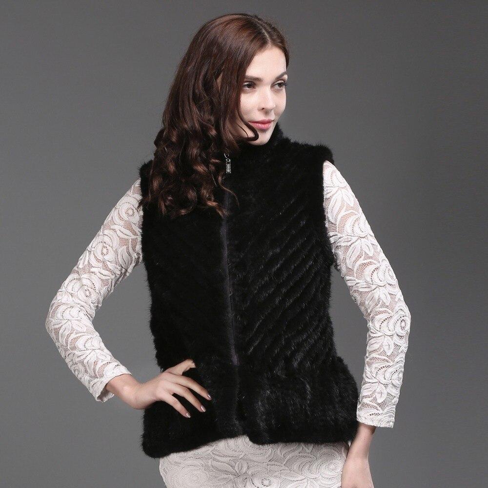 Femmes Black 2017 Manteau Casual brown Tricoté Gilet Style Vison Fourrure 100 Femelle Marque Réel Qualité Naturel Nouveau De EwSqA