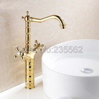Luxury High Style Dual Handle Swivel Bathroom Basin Faucet Golden Brass Finish Cold And Hot Mixer